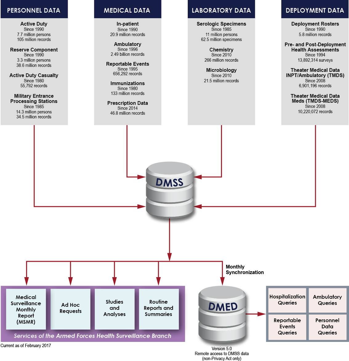 Information on the type of data DMSS provides for U.S. military health surveillance.
