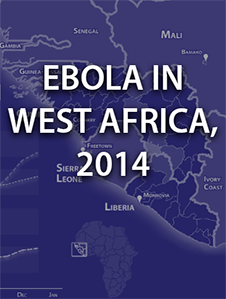 This graphic shows a thumbnail image from the Ebola in West Africa, 2014 interactive product. The image displays West Africa. Click the image to view the Ebola in West Africa, 2014 interactive product.