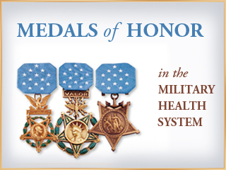 MHS Medal Of Honor Graphic showing the Army, Navy and Air Force versions of the medal