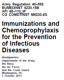 Immunizations and Chemoprophylaxis for the Prevention of Infectious