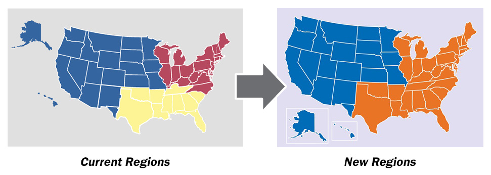 Image showing change from three TRICARE regions to two.