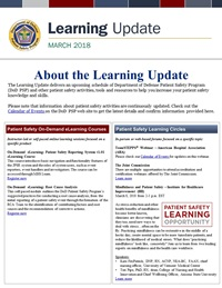 Department of Defense Patient Safety Program March 2018 Learning Update cover