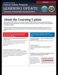 Department of Defense Patient Safety Program Learning Update: May 2017
