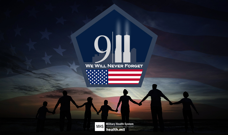 Image representing 9/11 with the twin towers inside a pentagon and an American flag. Includes the text,