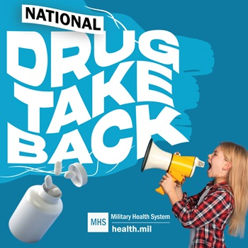 Social media graphic for National Drug Take Back Day showing a young girl yelling to a bullhorn with a blue background