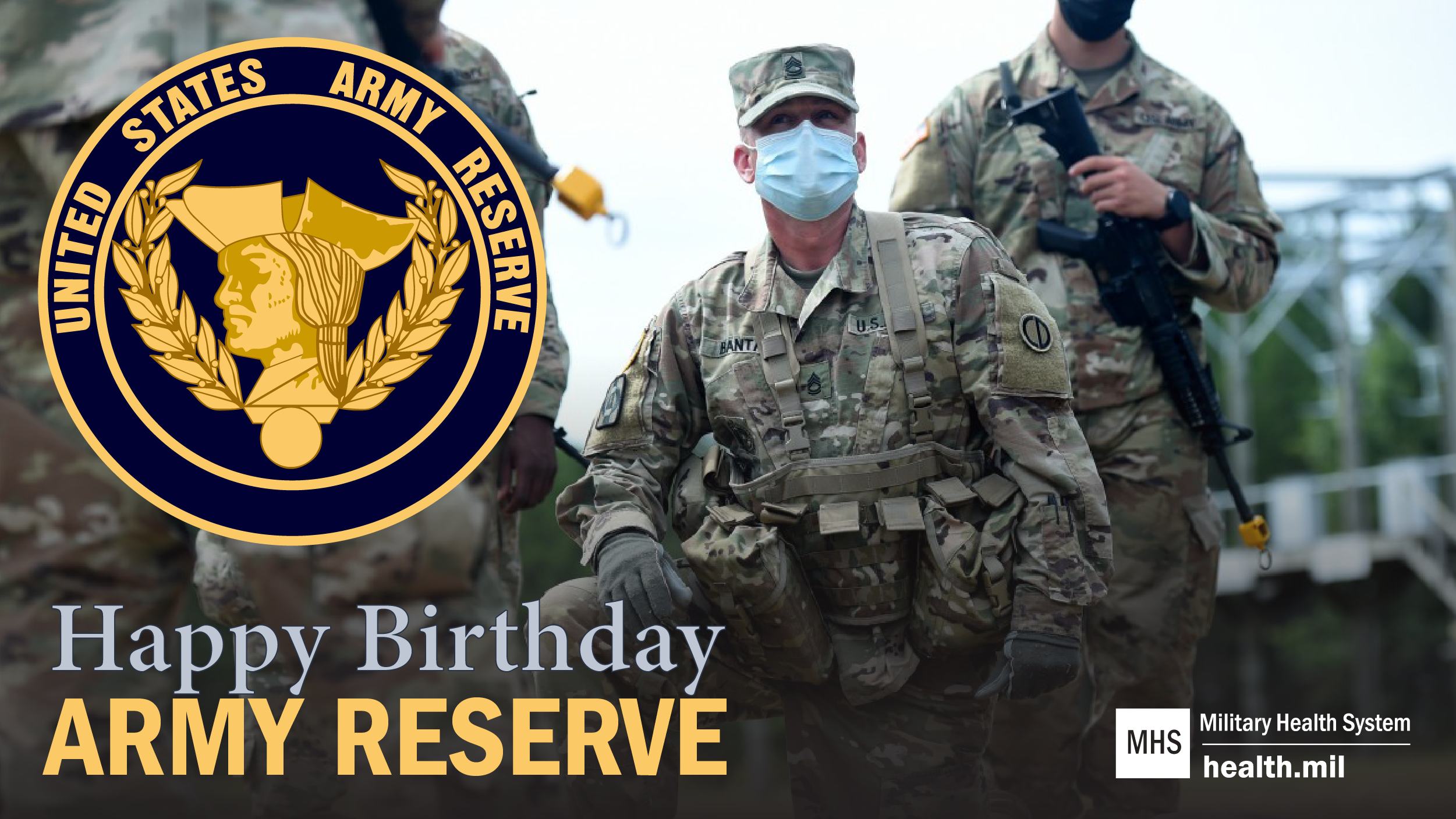 Social media graphic for Army Reserve Birthday showing Army Reservist and Army Reserve Logo.