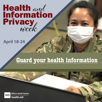 Social media graphic for Health Information and Privacy Week showing a masked Airman
