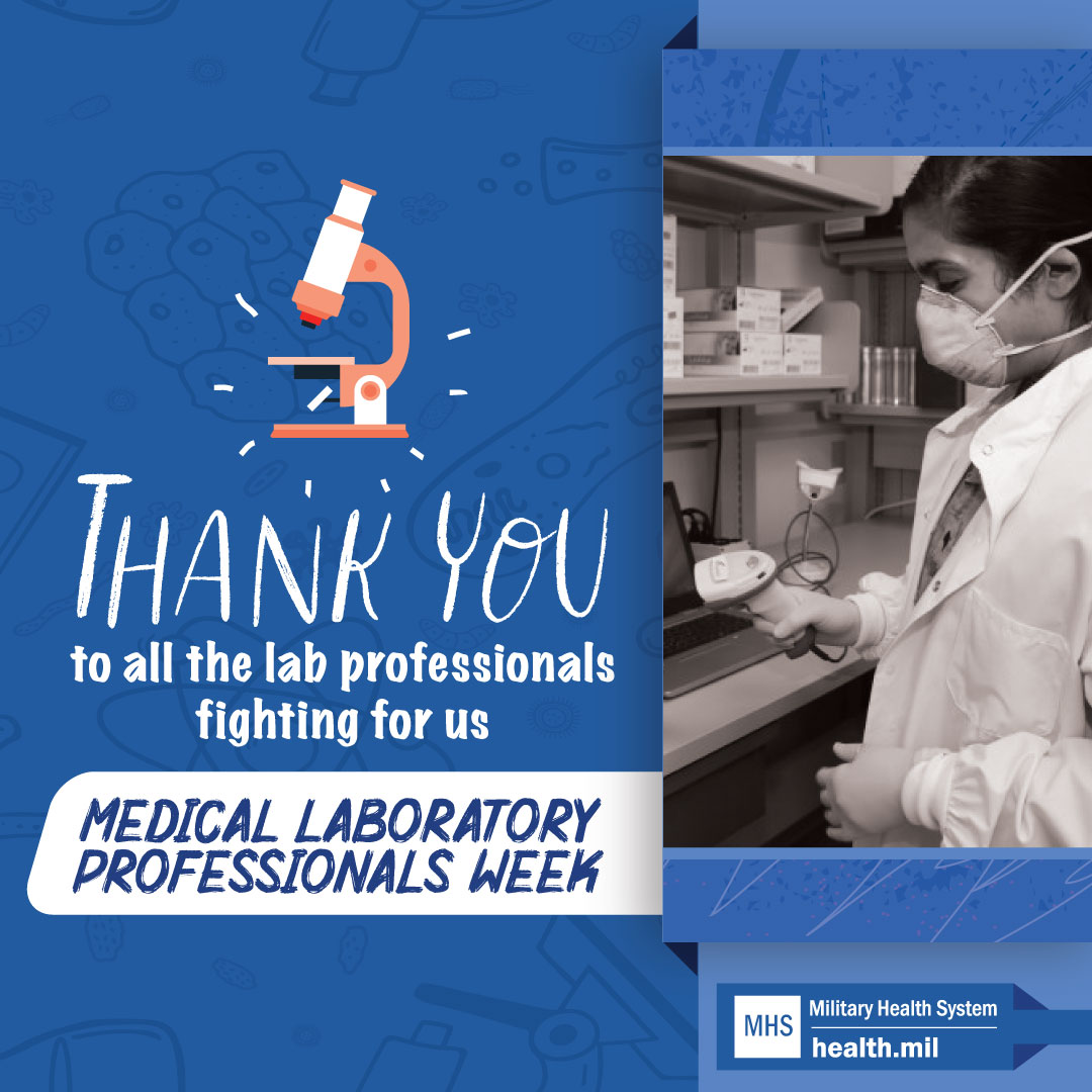 Social media graphic for Medical Laboratory Professionals Week showing a service member working in a medical lab