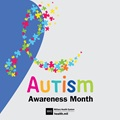 Autism Awareness Month social media graphic showing a ribbon composed of multi-colored puzzle pieces against a purple background