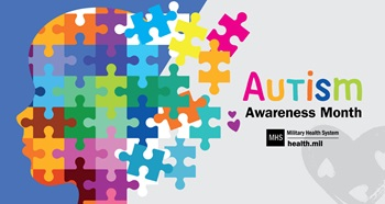 Autism Awareness Month social media graphic showing a head made up of multi-colored puzzle pieces against a purple background