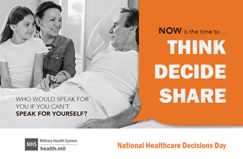Social media graphic for National Healthcare Decisions Day showing a family in hospital room