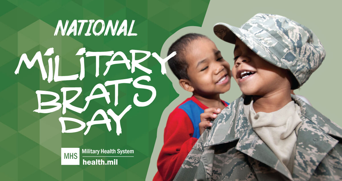 Social media graphic for National Military Brats Day showing two kids playing in military costumes