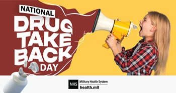 Social media graphic for National Drug Take Back Day showing a young girl yelling to a bullhorn with a yellow background