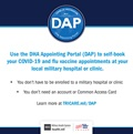 Social media post introducing the new DHA Appointing Portal. Includes the DAP logo at the top right of the page, the DAP description, and TRICARE and MHS logos on the bottom right.