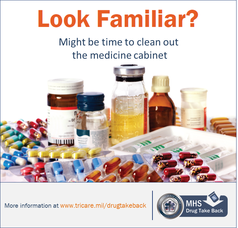 "Infographic showing a stash of prescription and OTC drugs...says ""Look Familiar? Might be time to clean out your medicine cabinet."""