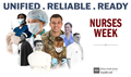 Social media graphic for National Nurses Week showing a collage of military nurses.