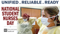 Social media graphic for National Student Nurses Day, showing two nurses wearing scrubs and face masks.