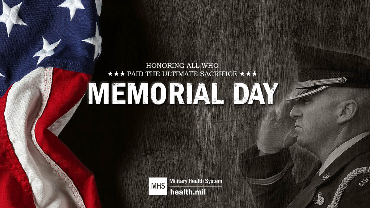 Social media graphic for Memorial Day showing a service member saluting the flag.