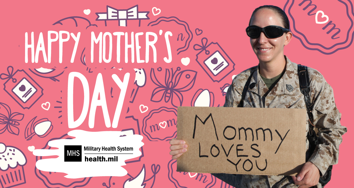 Social media graphic celebrating Mother's Day, showing a service member and her young daughter on a pink background.