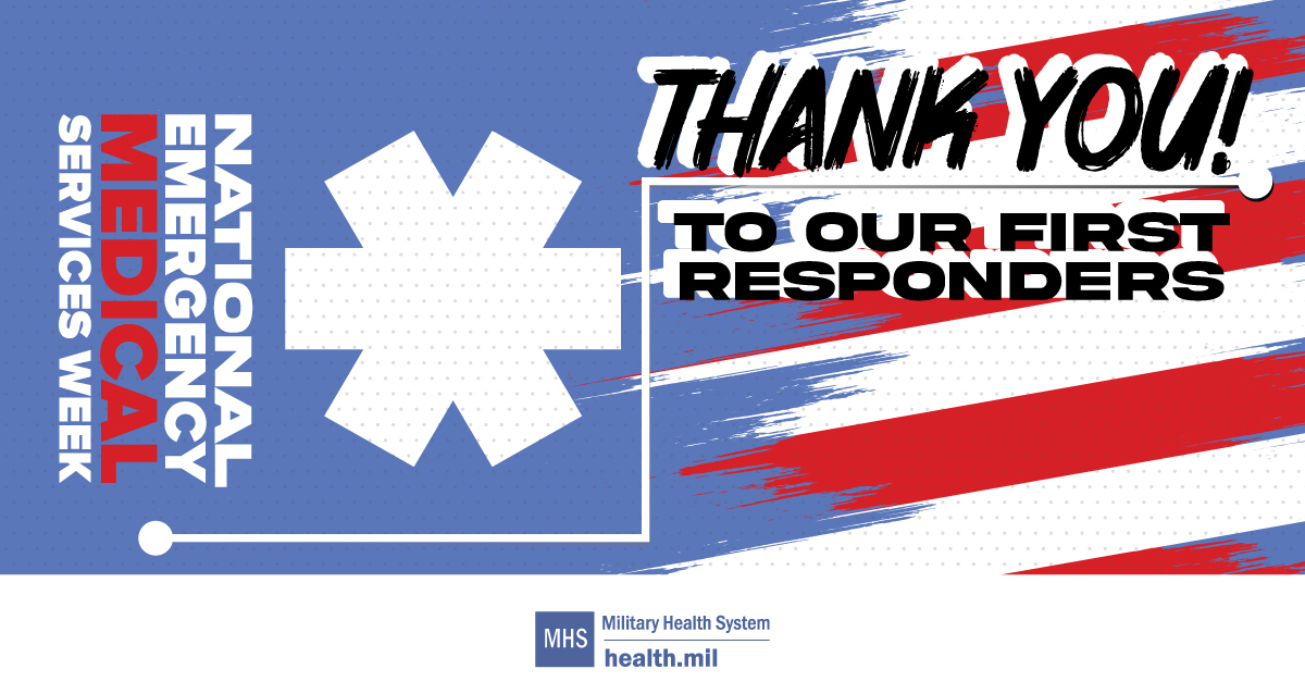 Social media graphic for National Emergency Medical Services Week showing a medical symbol and the American flag.