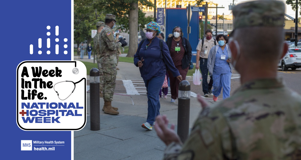 Social media graphic for National Hospital Week showing military medical treatment facility personnel arriving to work during the pandemic
