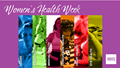 Social media graphic for Women's Health Week showing multiple female service members on a purple background.