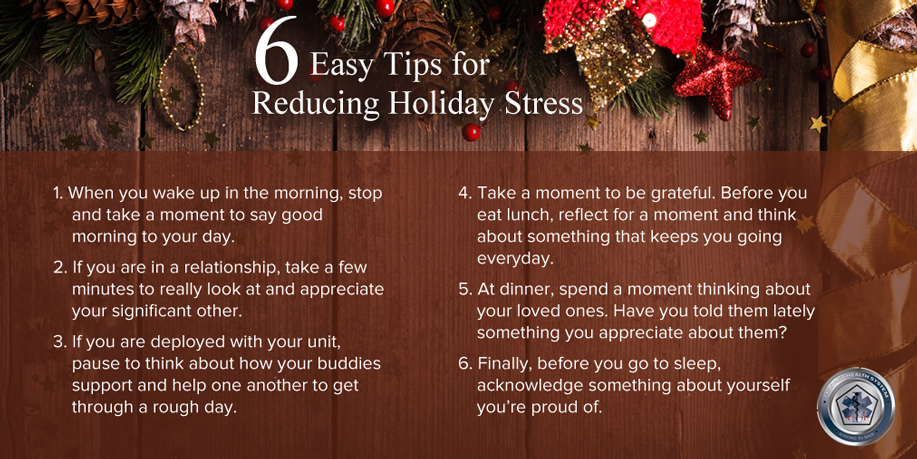 holiday graphic listing 6 tips to reduce stress