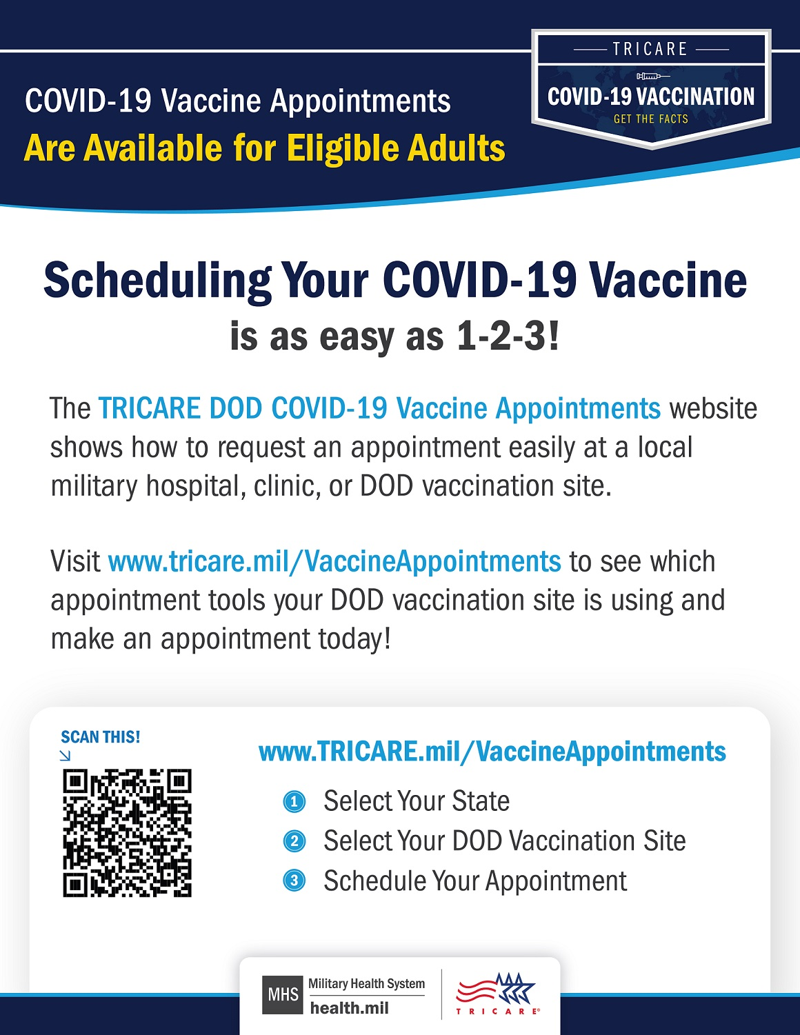 Graphic stating scheduling their COVID-19 vaccine appointment is easy and links to www.TRICARE.mil/VaccineAppointments. Graphic is framed by navy boarders and includes a scannable QR code, and the TRICARE and MHS logo on the bottom center.
