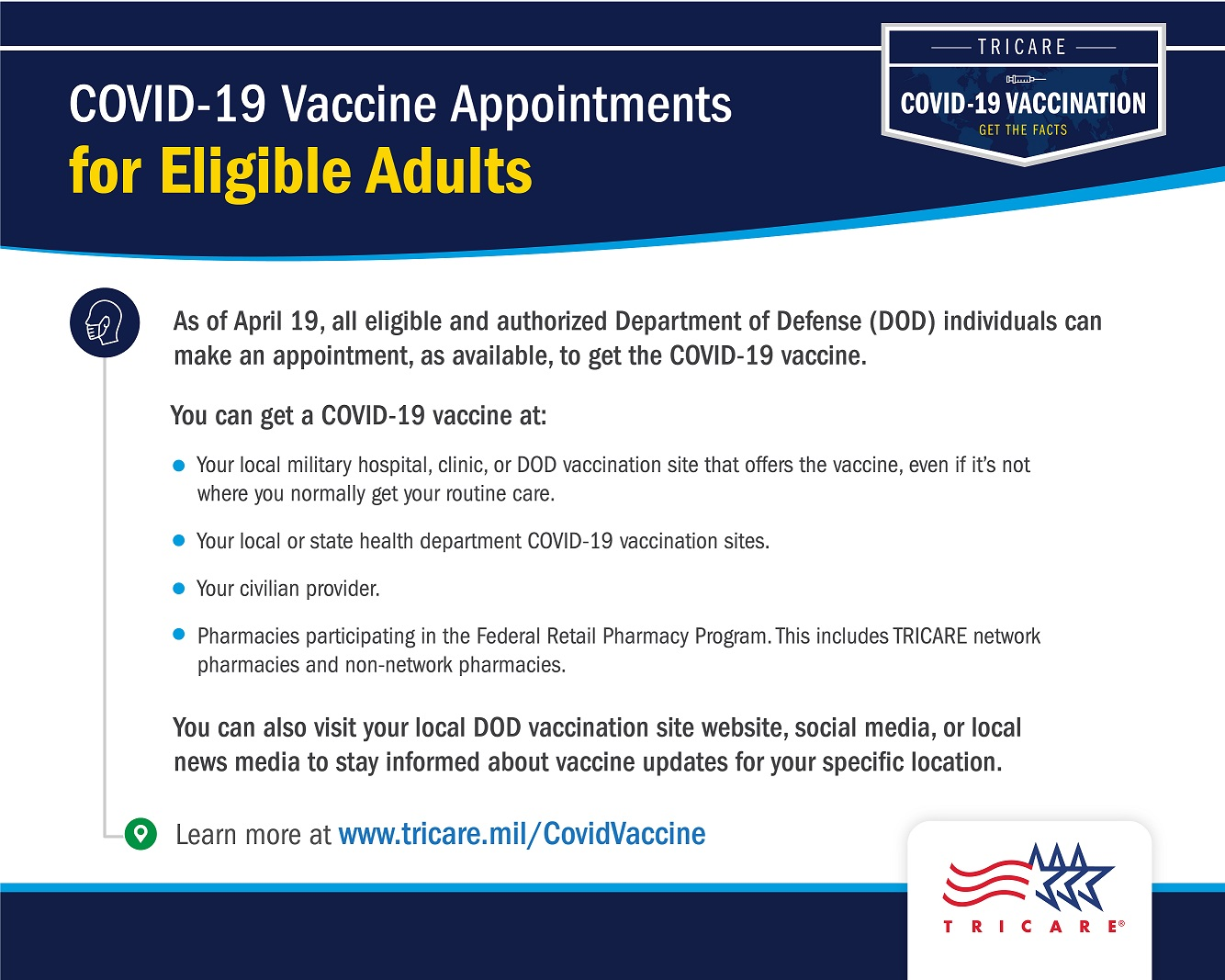 A navy and gray graphic with information on where adults can get the COVID-19 vaccine. Includes a link at the bottom of the graphic for www.tricare.mil/CovidVaccine and also has the TRICARE logo on the bottom right corner.