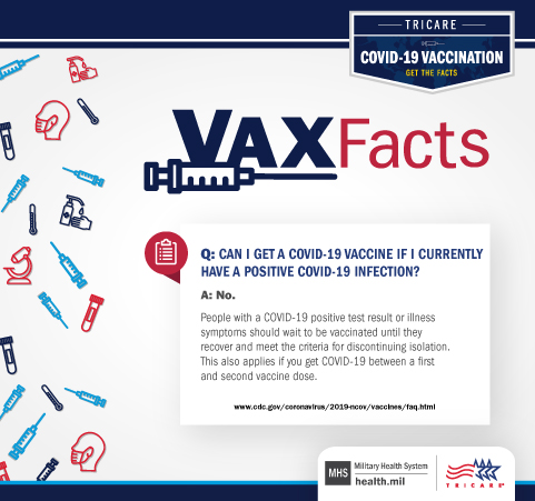 VAX Facts: Can I get a COVID-19 vaccine if I currently have a positive COVID-19 infection: No. People with a COVID-19 positive test result or illness symptoms should wait to be vaccinated until they recover and meet the criteria for discontinuing isolation.  This also applies if you get COVID-19 between a first and second vaccine dose.
