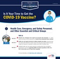 Describes who is eligible for the COVID-19 vaccine based as part of Tier 1a including health care, emergency, and safety personnel and other essential and critical groups.