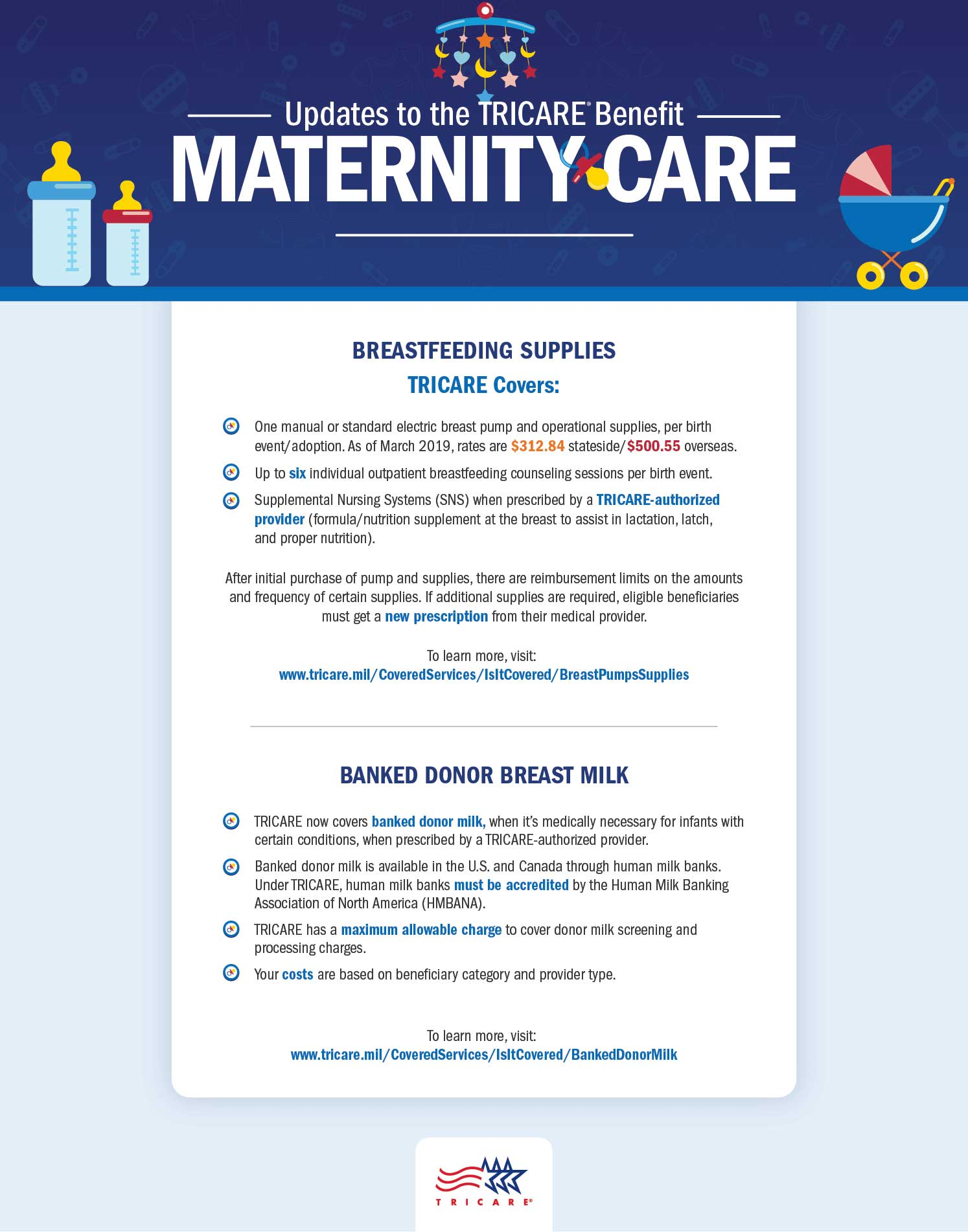 This infographic discusses updates to TRICARE's maternity benefits