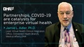 "Image of Mr. Adler with text: ""Partnerships, COVID-19 are catalysts for enterprise virtual health."""