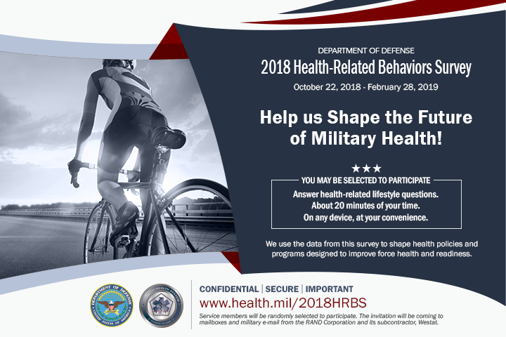 Individuals across both active duty and reserve components will be randomly selected to complete the 2018 Health-Related Behaviors Survey. Information and data from the results helps shape health policies and programs to improve force health and readiness. (MHS graphic)