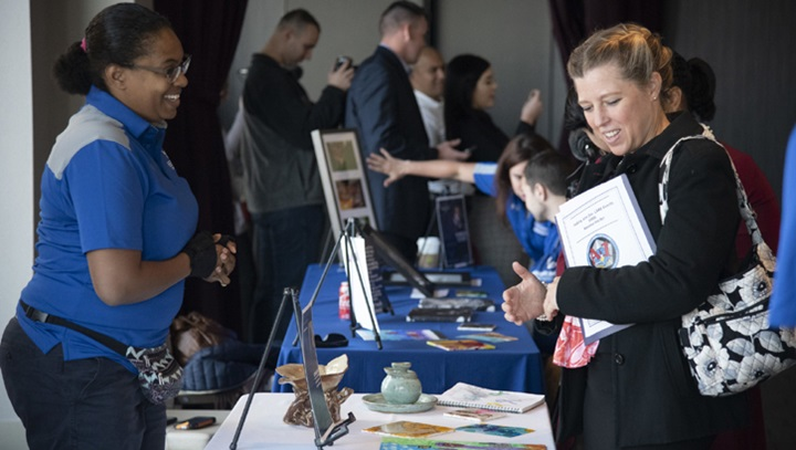"Wounded, ill, and injured Air Force and Marine Corps service members and veterans participate in ""A Day of Healing Arts: From Clinic to Community"" during Warrior Care Month at National Harbor in Maryland, Nov. 21, 2019. (DoD photo by Roger L. Wollenberg)"