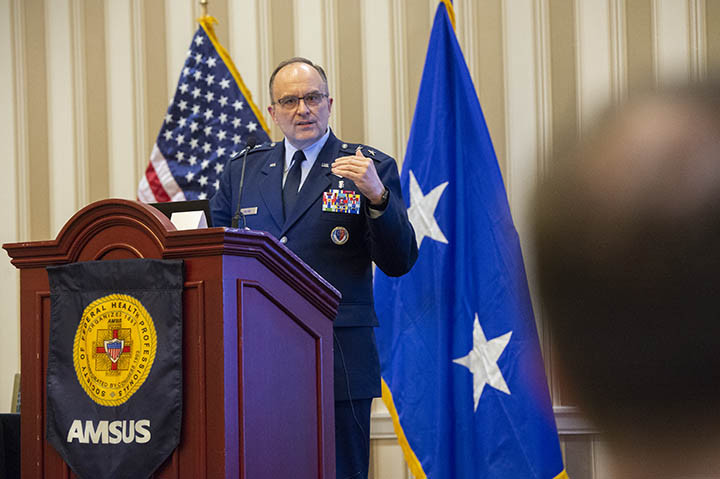 Air Force Maj. Gen. Lee Payne discusses MHS GENESIS at the 2018 AMSUS annual meeting. (Photo by MHS Communications)