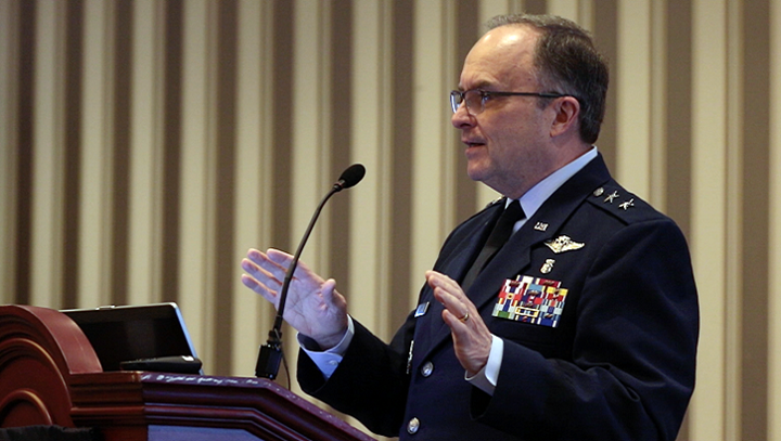 Air Force Maj. Gen. (Dr.) Lee Payne director for Combat Support at the Defense Health Agency, discusses the transformative effects of MHS GENESIS, the Department of Defense's new electronic health record, during the 2019 Society of Federal Health Professionals' annual meeting in National Harbor, Maryland. Payne explained that the new electronic health record will ensure high quality care for patients while protecting the safety and security of patient information. MHS GENESIS will deploy in phases to all DoD military treatment facilities by 2023. (DHA Photo)