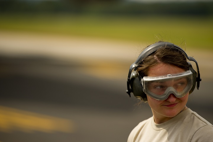 From flight line operations to firearms qualification ranges, aircraft maintenance back shops, vehicle repair shops, or civil engineering shops, noise brings the potential of hearing loss if proper personal protective hearing equipment is not available or utilized. (U.S. Air Force photo)