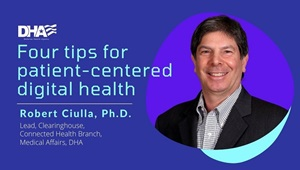 "Picture of Robert Ciulla with the words ""Four Tips for Patient-Center Digital Health"""