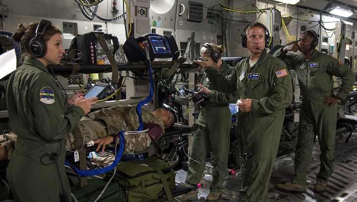Opens larger image for U.S., Royal Air Force Aeromedical Evacuation Squadrons train together