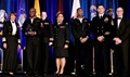"Navy Vice Adm. Raquel Bono, director, Defense Health Agency (far left) and Thomas McCaffery, acting Assistant Secretary of Defense for Health Affairs (far right), present the MHS ""Advancements towards High Reliability in Health Care"" Quality and Patient Safety Award to Fort Belvoir Community Hospital for ""Improving Sterile Instrument and Process Handling."" Accepting award (left to right) are Navy Petty Officer 2nd Class Daniel Asante, Navy Lt. Cmdr. Lara Kirchner, Army Maj. Shirley Ochoa-Dobies, Navy Petty Officer 2nd Class Daniel Renardo Reid and Chief Petty Officer James Pell. (Courtesy photo)"