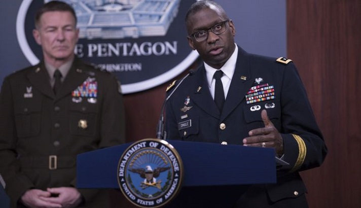 Military personnel speaking at a Pentagon press briefing