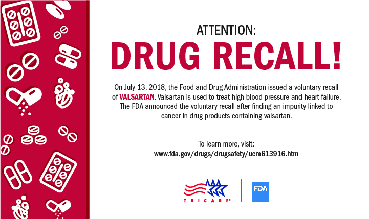 n July 13, 2018, the Food and Drug Administration issued a voluntary recall of valsartan. Valsartan is used to treat high blood pressure and heart failure.