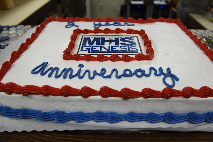 A cake celebrating the second year anniversary of Military Health System GENESIS' arrival to Fairchild's 92nd Medical Group at Fairchild Air Force Base, Washington, Feb. 8, 2019. MHS GENESIS is a Department of Defense-wide electronic health record and management system that combines health records from base, civilian and Veteran's Affairs primary care providers, pharmacies, laboratories and dental clinics into one network. (U.S. Air Force photo/Airman 1st Class Lawrence Sena)