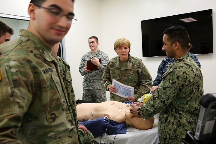 """It was important to me to have firsthand knowledge of the American Red Cross curriculum we'll be rolling out to the rest of the MHS,"" said Air Force Brig. Gen. Sharon Bannister, Deputy Assistant Director for Education and Training. Bannister said being able to train and test alongside students in their third year of medical school was one of the best parts of the day. (MHS photo)"