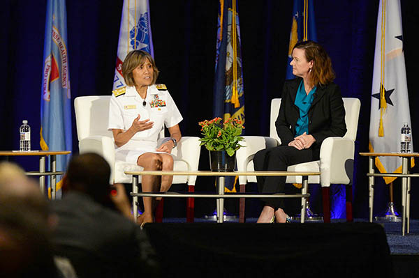 Vice Adm. Raquel C. Bono, director of the Defense Health Agency, and Ms. Stacy Cummings, Program Executive Officer for Defense Health Management Systems, answer questions about the progress of MHS GENESIS electronic Health record during the 2018 Defense Health Information Technology Symposium July 24 in Orlando, Florida.