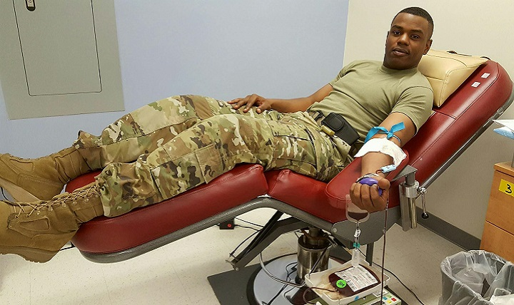Army Sgt. Preston Campbell, donates for the low titer type O whole blood program at the Kendrick Memorial Blood Center on Fort Gordon, Georgia. (Courtesy photo)