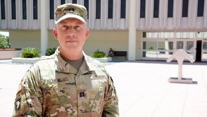 "Army Capt. Robert Blume, physician assistant, has been called a ""guardian angel"" for his heroic actions, June 6, 2019, after saving the life of a man struck by lightning. Blume, along with San Antonio-area first responders, worked together to help 21-year-old Joshua Favor, after he was electrocuted while delivering roofing materials during a break in a thunderstorm. (U.S. Army photo Jose E. Rodriguez)"