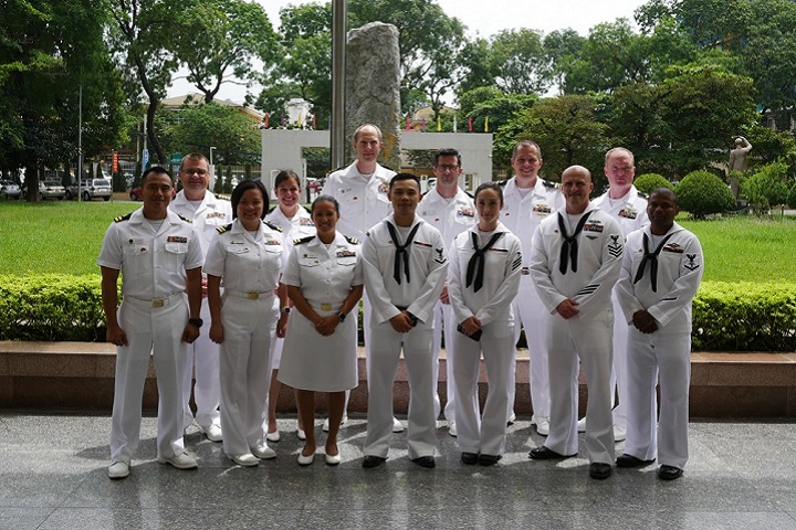 The 13 Navy Medicine members stand together on the first day of the Integrated Trauma and Medical Readiness Exchange engagement in Vietnam. (U.S. Navy photo by Capt. Joel Roos)