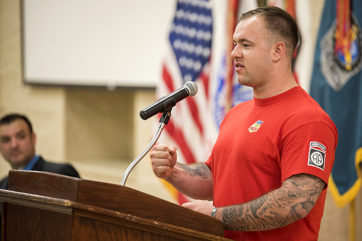 Army Sgt. Jon Harmon lost both legs after stepping on an improvised explosive device while on a 2012 Afghanistan mission. Today he speaks to commands and veterans about his personal struggle with mental health and how he works to overcome it. (Photo by Kevin Fleming, U.S. Army Sustainment Command)